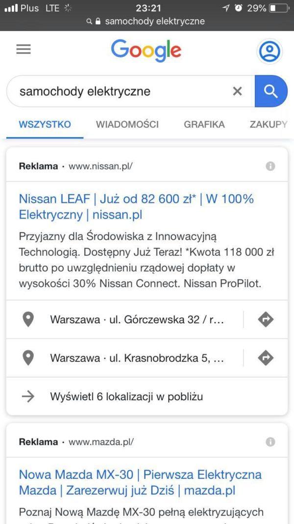 przykład reklamy Google Ads Mobile | smuggled.pl